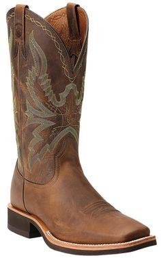 Ariat® Quantum Brander™ Men's Distressed Brown Square Toe Crepe Sole Western Boots | Cavender's