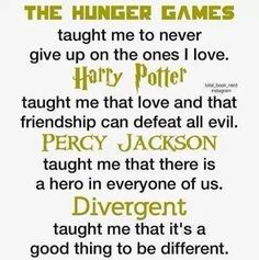 The Hunger Games, Harry Potter, Percy Jackson, and Divergent I wish there was a I am number four one