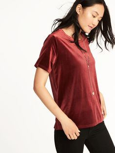 Love this top from Old Navy! I mean… it's velvet! So cute and comfy. I can dress it up or down! Love to use it to spruce up a casual outfit. [affiliate]