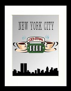 Retro Poster Print, Central Perk Cafe, New York City