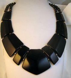 Signed Napier Modernist Black Lucite Collar Necklace