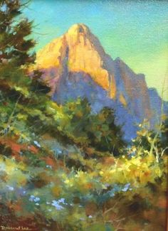 Watchman Trail , Oil painting of Zion National Park - Watercolor Paintings by Roland Lee Watercolor Projects, Watercolor Landscape, Landscape Art, Landscape Paintings, Watercolor Paintings, Oil Paintings, Landscapes, Sketch Painting, Oil Painting Abstract
