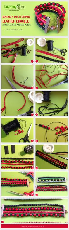 a Multi Strand Leather Bracelet in Black and Red Alternate Pattern