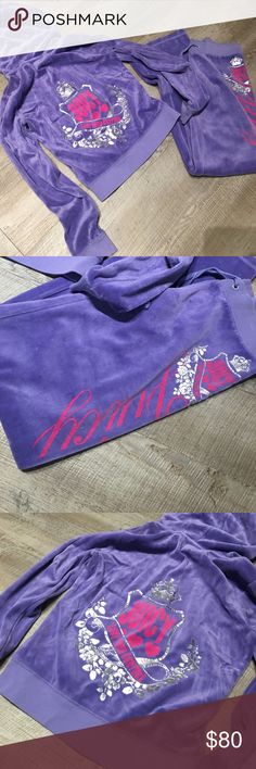 Juicy Couture 2pc Velour hoodie lounge pants XS S (❁´◡`❁) ωḙℓḉ✺Պḙ (❁´◡`❁)  