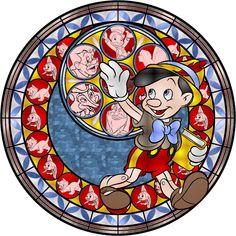 Pinocchio Stained Glass by Disney Pixar, Pinocchio Disney, Arte Disney, Disney Cartoons, Disney And Dreamworks, Disney Love, Disney Stained Glass, Disney Kingdom Hearts, Winnie The Pooh