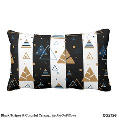 Black Stripes & Colorful Triangles Pattern Lumbar Pillow