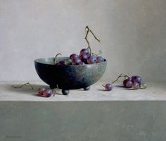 schaal met druiven, oil on masonite. Annemiek Groenhout