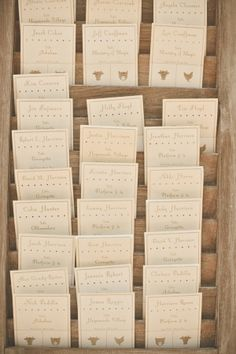 place escort/meal cards into antique shutters for a pretty display // photo by VentolaPhotography.com