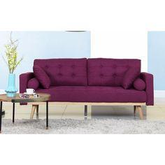 Mid-Century Modern Tufted Linen Fabric Sofa