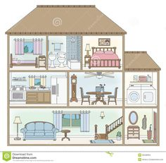 House cross-section. Cross-section of a doll house style building , Paper Doll House, Paper Houses, Style At Home, Colegio Ideas, House Clipart, Inside A House, House Illustration, Building Illustration, Illustrations