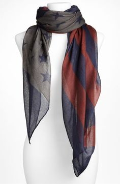 Love this, I wish there was a union jack version too. David & Young 'Flag' Sheer Scarf | Nordstrom