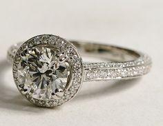 Heirloom halo micropavé diamond engagement ring
