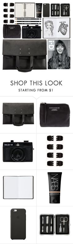 """""""What i have in my bag?"""" by annaclaraalvez ❤ liked on Polyvore featuring Maison Margiela, Acne Studios, Holga, Forever 21, Louis Vuitton, Harrods, Graphic Image, NARS Cosmetics, Black Apple and John Lewis"""