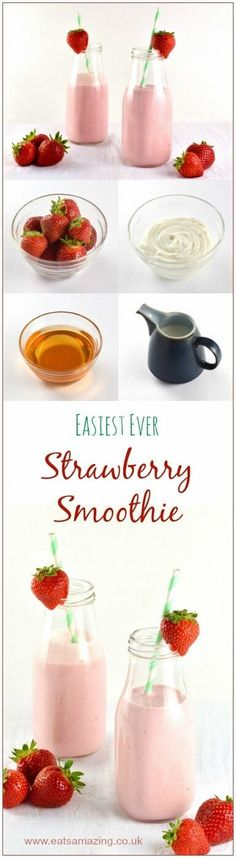 Super easy Strawberry Smoothie Recipe - healthy recipe for kids with no refined sugar - great for breakfast - Eats Amazing UK
