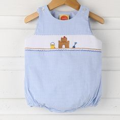 This adorable boy sun bubble is perfect for summertime! Features smocked sand castle on blue gingham seersucker. Heirloom Sewing, Blue Gingham, Cross Stitches, Seersucker, Smocking, Boy Outfits, Kids Fashion, Bubbles, Give It To Me
