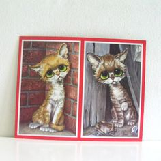 Vintage Big Eyed Pity Kitty Kittens Litho 1960s Art Print by Gig