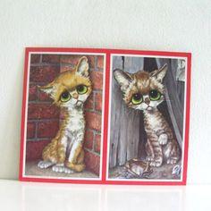 Vintage Big Eyed Pity Kitty Kittens Litho 1960s Art Print by Gig