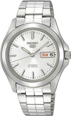 Seiko 5 Automatic Silver Tone Dial Link Bracelet -- To view further for this item, visit the image link.