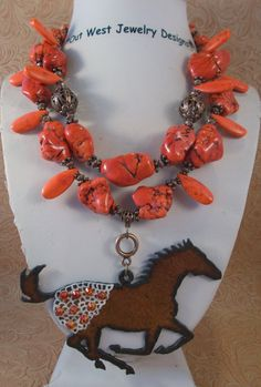 Cowgirl Necklace Set - Chunky Orange Howlite Turquoise - Appaloosa Horse Pendant - pinned by pin4etsy.com
