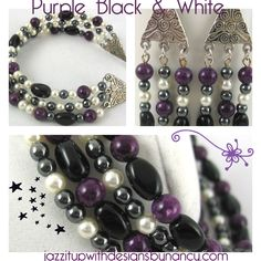 Purple Black and White Beaded Jewelry set with choice of Bracelets and Earrings