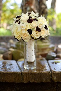 Fall Bouquet - Chocolate Cosmo, white mini cymbidium, garden roses and spray roses - by www.lifemadepretty.com Fall Bouquets, Fall Wedding Bouquets, Chocolate Cosmos, Spray Roses, Garden Roses, Orchids, Floral Design, Centerpieces, Wedding Inspiration