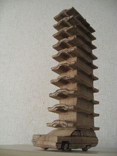 Ryuichi Ohira, Hearse, 2009 Wood Laminate, Wood Toys, Art Cars, Wood Art, Carving, Sculpture, Artworks, Inspiration, Architecture