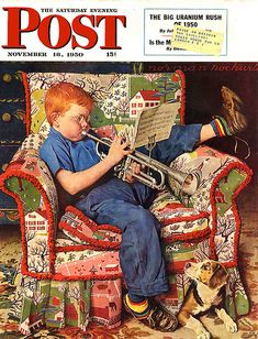 """Practice"" 11/18/1950 aka. ""Trumpet Practice"" by Norman Rockwell for The Saturday Evening Post, cover (info verified)"