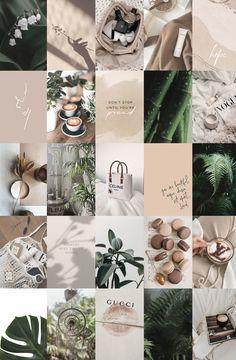 Boho Boujee Botanical Wall Decor, Green Beige Photo Wall Collage Kit, Bedroom Decor Aesthetic