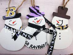 Baltimore Ravens Custom Christmas Ornaments Ravens Snowmen Baltimore Wedding Stocking Stuffers Bridal Party Shower Gift. $8.99, via Etsy.