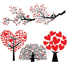 Tree Love Valentine's Day Heart Designs Cuttable by CuttableSVG