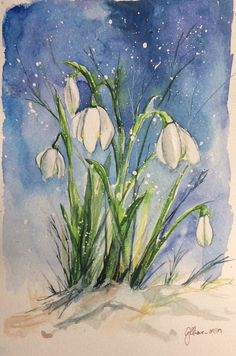 snowdrop Source by Watercolor Paintings For Beginners, Watercolor Pictures, Watercolor Projects, Watercolor Artwork, Watercolor Cards, Watercolor Illustration, Watercolor Flowers, Spring Art, Art Pictures