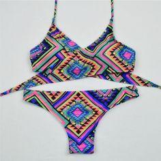 Boho print shoulder strap sexy bikini