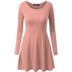 Doublju Womens Long Sleeve Round Neck Flared Skater Dress (£11) ❤ liked on Polyvore featuring dresses, long-sleeve skater dresses, flare skater dress, red flare dress, red long sleeve dress and longsleeve dress