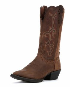 """Women's Sorrel Apache Boot - L2551 $129.95   Product Details      Genuine leather     Color: Sorrel Apache     Shaft height: 12""""     Heel height: M Unit - 1 5/8""""     Toe: J4 - Narrow Rounded     Insole: J-Flex flexible comfort system with removable orthotic insert and Justin stabilization technology     Outsole: Black with teak insets technical western rubber     Single stitched mahogany welt     Feature: New 55 Scallop"""