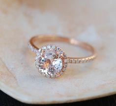 Rose gold engagement ring Peach sapphire diamond ring 14k rose gold round…