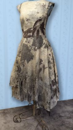 One-of-a-kind Nuno felt dress by Janet King. Hand felted merino and silk then printed with botanicals and natural dye. Custom orders. Contact Gallery.