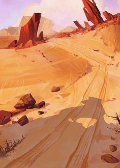 offbeat estudio on Behance Fantasy Art Landscapes, Fantasy Landscape, Landscape Art, Environment Painting, Environment Design, Desert Environment, Landscape Illustration, Illustration Art, Illustrations