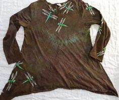 XL Women's Batik Dragonfly long sleeve tunic Extra Large by HooeyBatiks on Etsy