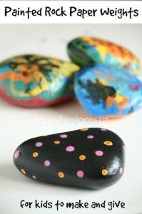 painted rock paper weights