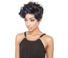 Keyshia Wig by Mane Concept. Keyshia wig features a lightweight, short-cropped cut with a flipped curly fringe that adds style! Black Girls Hairstyles, Wig Hairstyles, Pixie Styles, Short Hair Styles, Curly Fringe, Short Cut Wigs, Affordable Wigs, Curly Pixie, Sassy Hair