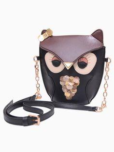 Brown Owl Leather Bag Chain Crossbody Bag 7ca4a830d8e97