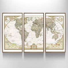 3 Panel Map Wall Art Prints Mural,Map Poster Printed on C...
