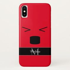 Personalize Cool Funny smiley hurting face red black Monogram iPhone X 8 7 6 Case by #PLdesign #style #fashion #accessories @zazzle