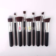 10pcs BLACK-Silver Color Woman Party Professional Cosmetic Makeup Large + Small Brushes Set Foundation Brush Eyeshadow brush -- BuyinCoins.com