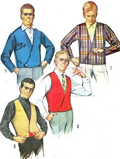 1960s Mens Vest and Jacket Pattern Simplicity 6256 by paneenjerez, $10.00