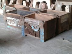 Reclaimed wooden old carved brackets front side Planters 27$ ex work India.  www.alpacorp.in