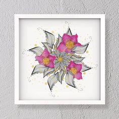 Gold leaf flower mandala illustration gold leaf square | Etsy Leaf Flowers, Flower Mandala, Modern Art, Contemporary Art, Different Shades Of Pink, Gold Leaf, Digital Prints, Original Artwork, Abstract Art