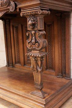 Exceptional jester renaissance cabinet in walnut - Cabinets - Houtroos Baroque Furniture, Fine Furniture, Furniture Design, Walnut Cabinets, Antique Cabinets, Pillar Design, Oriental Design, Iron Decor, Cabinet Styles