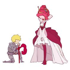 Knight Finn and Princess Bonnibell<<<<< FINN WHAT ARE YOU DOING TRYING TO LOOK UP HER DRESS?!?!?!<<<< no he's bowing down you idiot.