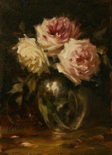 Still Life Oil painting pink roses in glass vase by Carolina Elizabeth